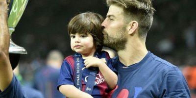Piqué celebró con su hijo Milan tras ganar la Champions League