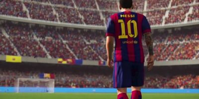 Messi entrando al Camp Nou. Foto: EA Sports