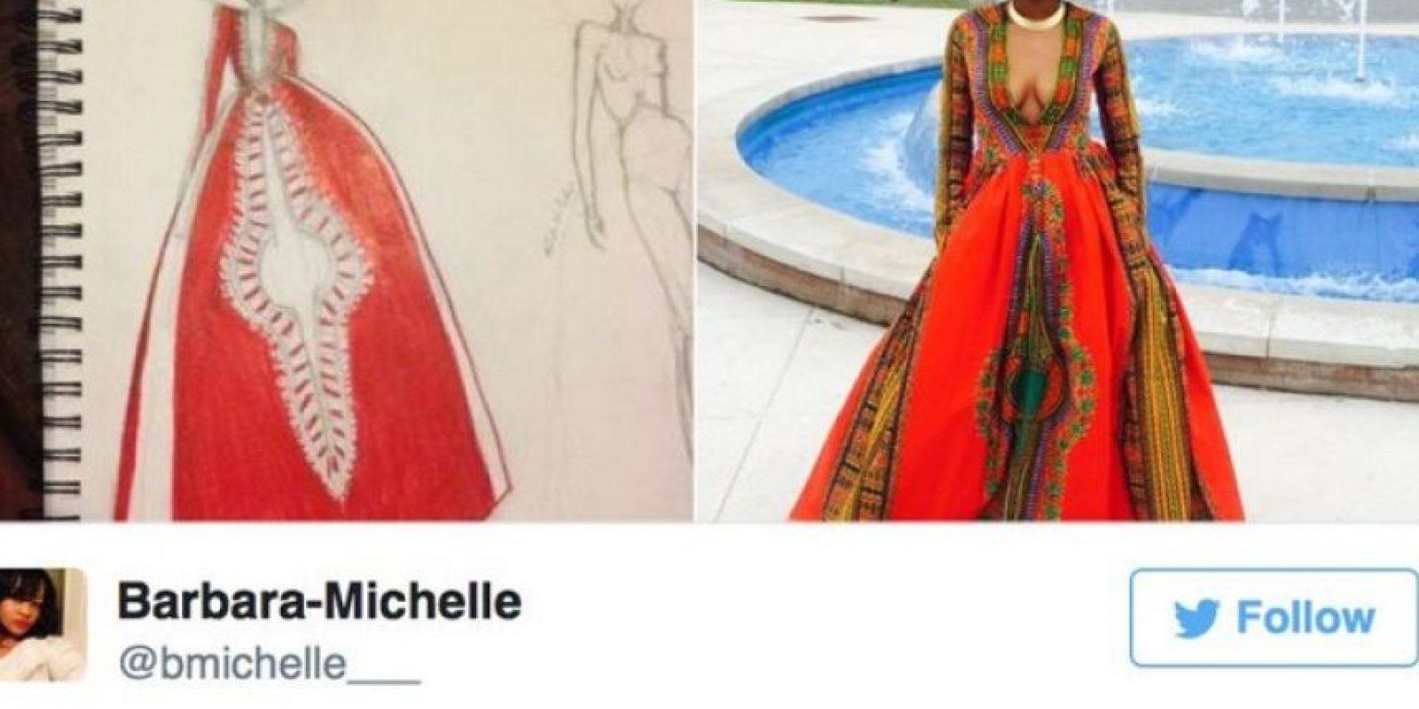 Por eso inspiró este increíble vestido. Lo hizo ella a mano. Foto:Foto: vía Instagram/mindofkye