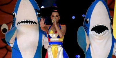 13.- El tiburón de la izquierda del show de Katy Perry en el medio tiempo del Superbowl XLIX Foto:Getty Images