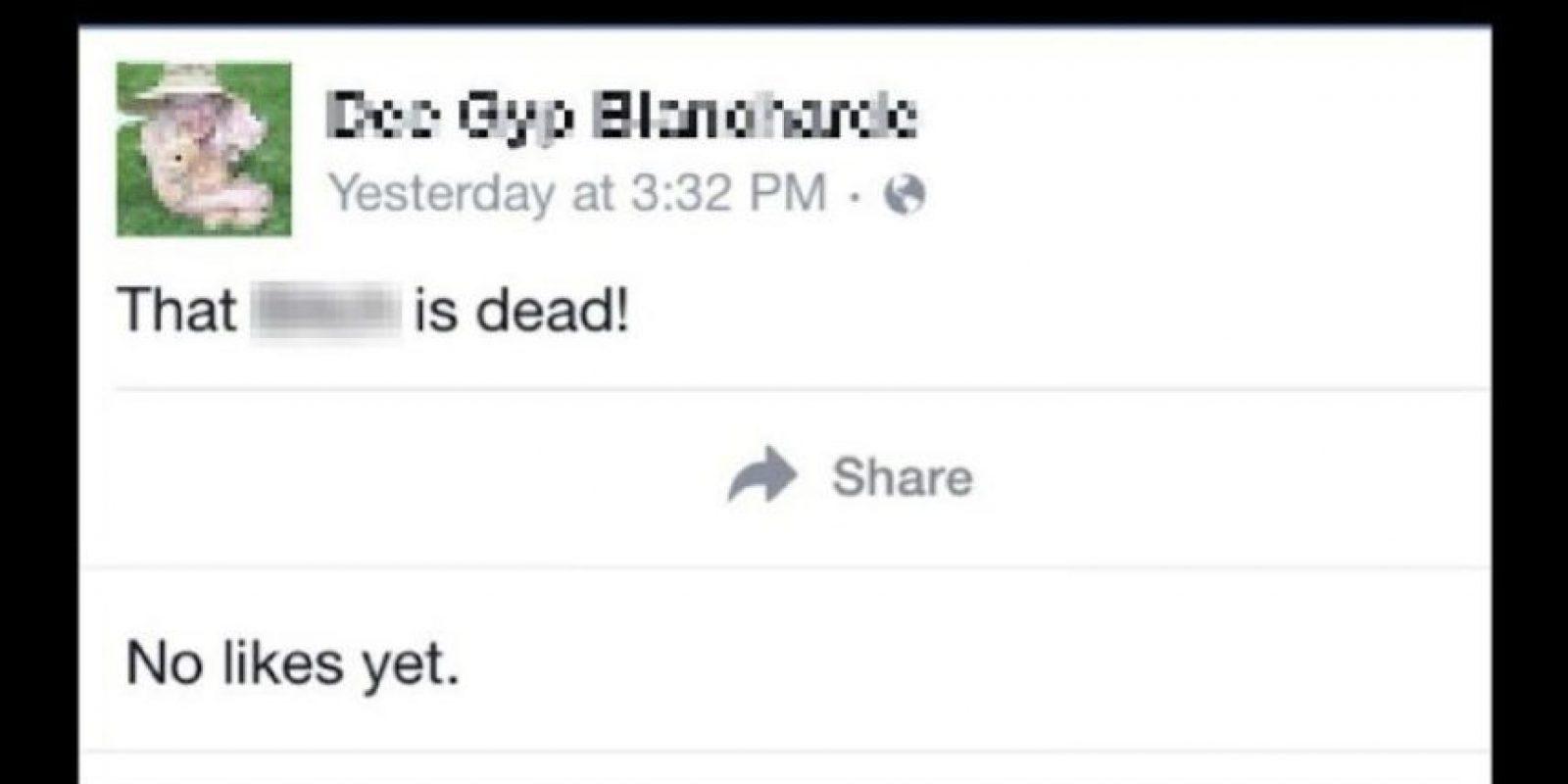 5. Asesino escribe en el Facebook de su víctima que la mató. El pasado lunes se publicó en Imgur una captura de pantalla de Facebook, en la que un supuesto asesino escribió en el perfil de su víctima. Foto:Vía Facebook