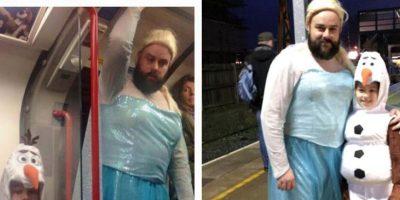 Este amoroso padre que se disfrazó de Elsa para acompañar a su hija. Foto:vía Imgur