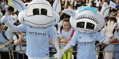 """Moonchester"" y ""Moonbeam"" son las mascotas del Manchester City. Foto: Getty Images"