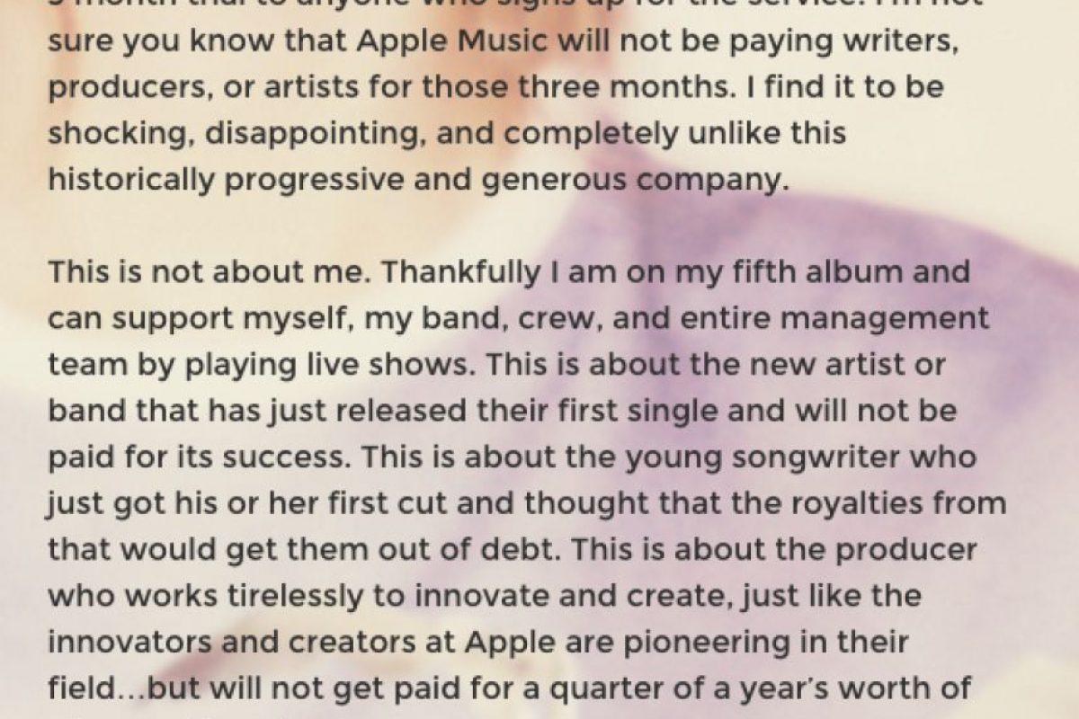 6. Taylor tiene una ética de trabajo invaluable. Le gusta luchar para que la gente que trabaja en la industria sea bien paga por su talento. Esto fue lo que le escribió a Apple. Foto:vía Tumblr/taylorswift