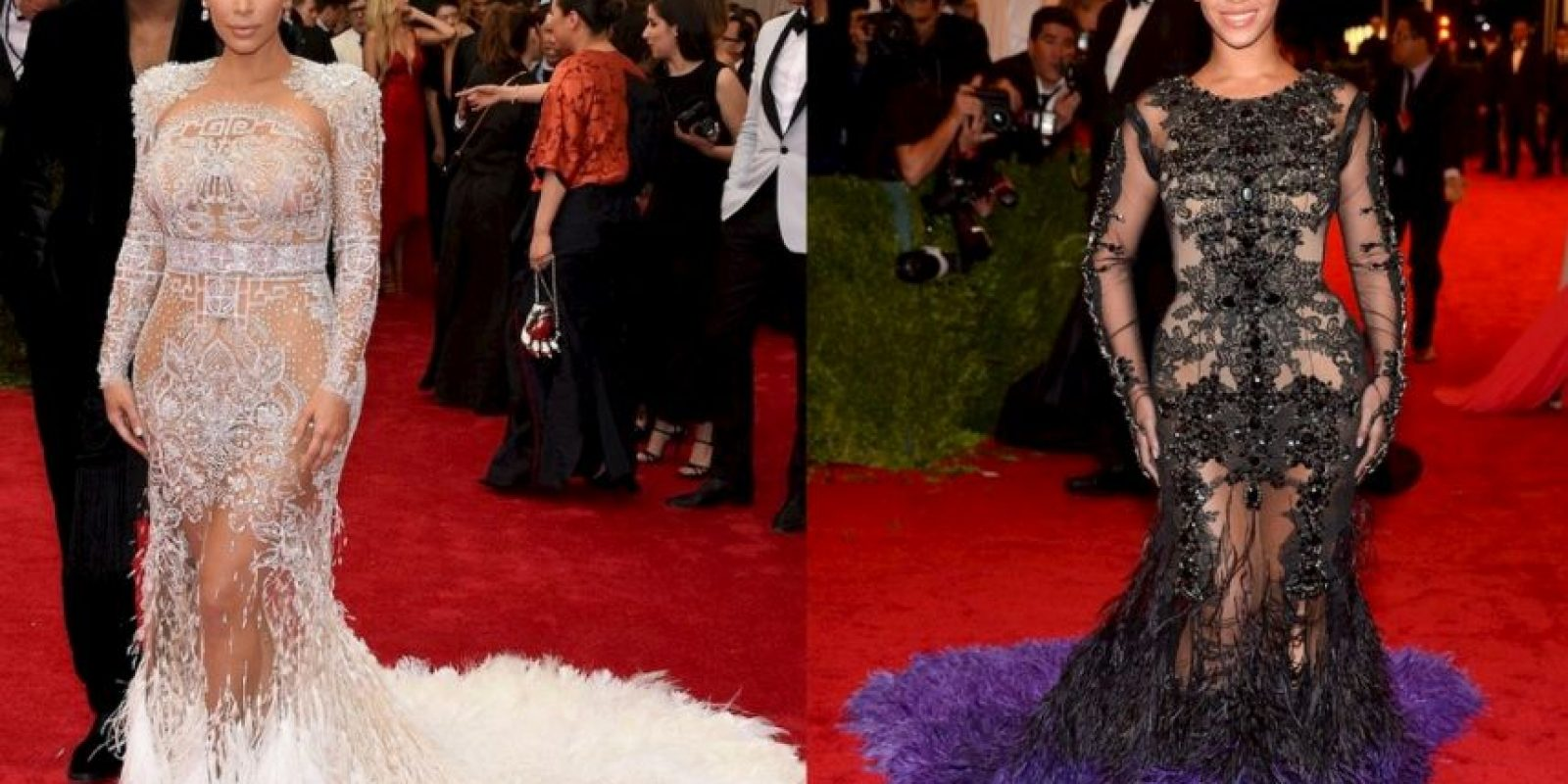 2. Pero otra que copia ( y mucho) es Kim Kardashian. Acá con un look de Beyoncé. Las dos usaron el vestido para la gala del MET. Foto:vía Getty Images