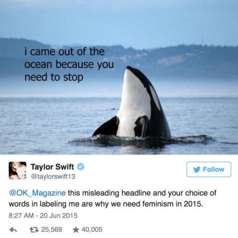 """7. Porque en redes sociales es la mejor. Cuando OK! Magazine sacó rumores sobre ella, les respondió: """"Por esto necesitamos el feminismo en 2015"""". La ballena, inmejorable. Foto:vía Twitter/Taylor Swift"""