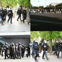 La policía local trata de contener a los manifestantes. Foto:instagram.com/shazzle99