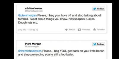 """El conductor Piers Morgan alguna vez criticó al exfutbolista Michael Owen, diciéndole : """"Deja de pretender que sigues siendo futbolista"""". Foto:vía Twitter"""