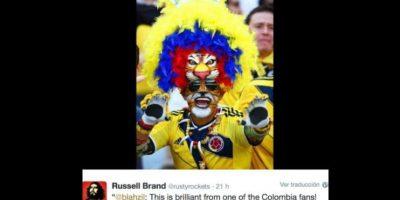 """En el Mundial, el comediante Rusell Brand puso esta foto y dijo : """"la cocaína es buena para la confianza"""". Foto:vía Twitter"""