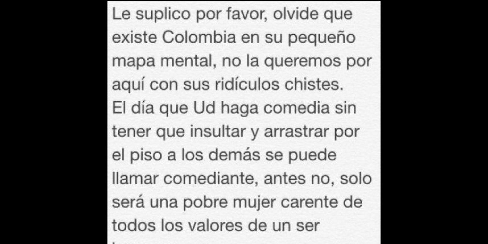 Y ahora los colombianos ven en Belén Mora, comediante chilena, su nuevo foco de indignación. Foto:vía Twitter