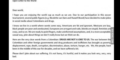 Por esas fechas salió también una carta donde un colombiano explicaba en 9GAG que la cocaína era un gran problema en su país. Se volvió viral. Foto:vía Twitter