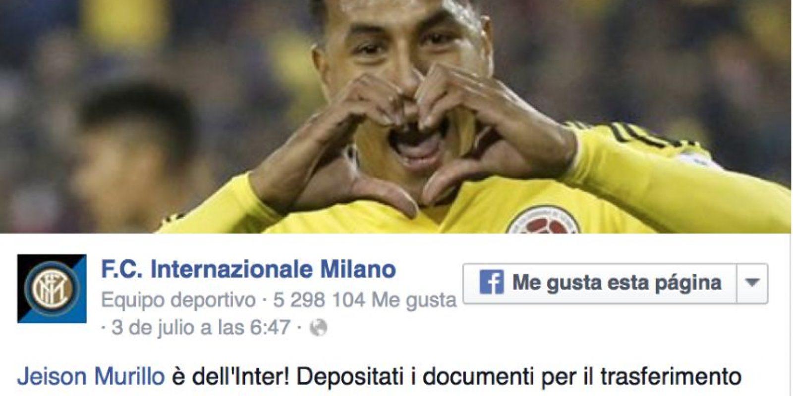 El colombiano fue contratado por el Inter de Milán Foto:Twitter