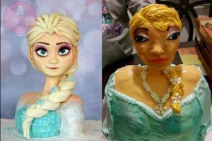 """Aquí la comparación entre el modelo original y la creación de Lisa Randolph-Gant, repostera de """"Let's Make a Cake"""" Foto:Reddit"""