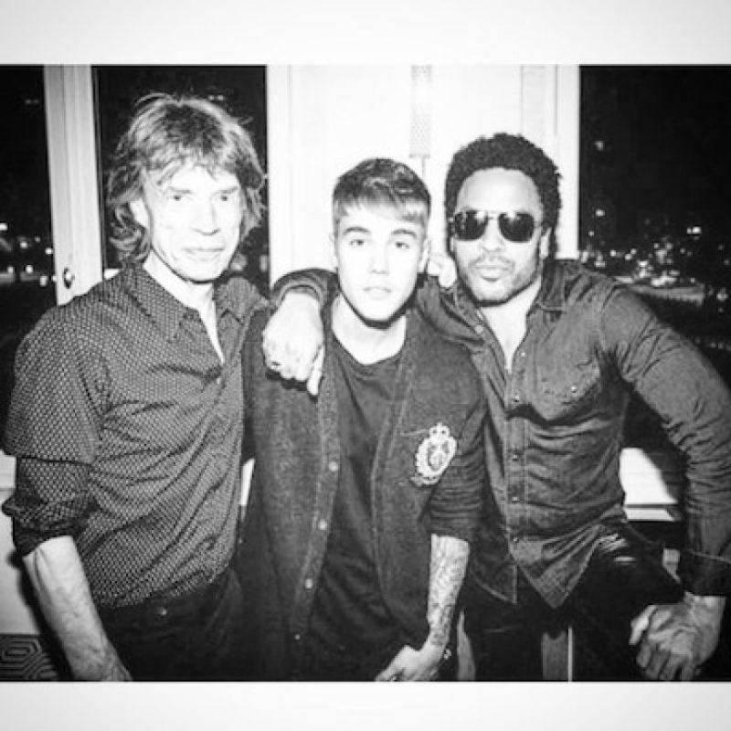 Mick Jagger y Lenny Kravitz Foto:Instagram.com/JustinBieber