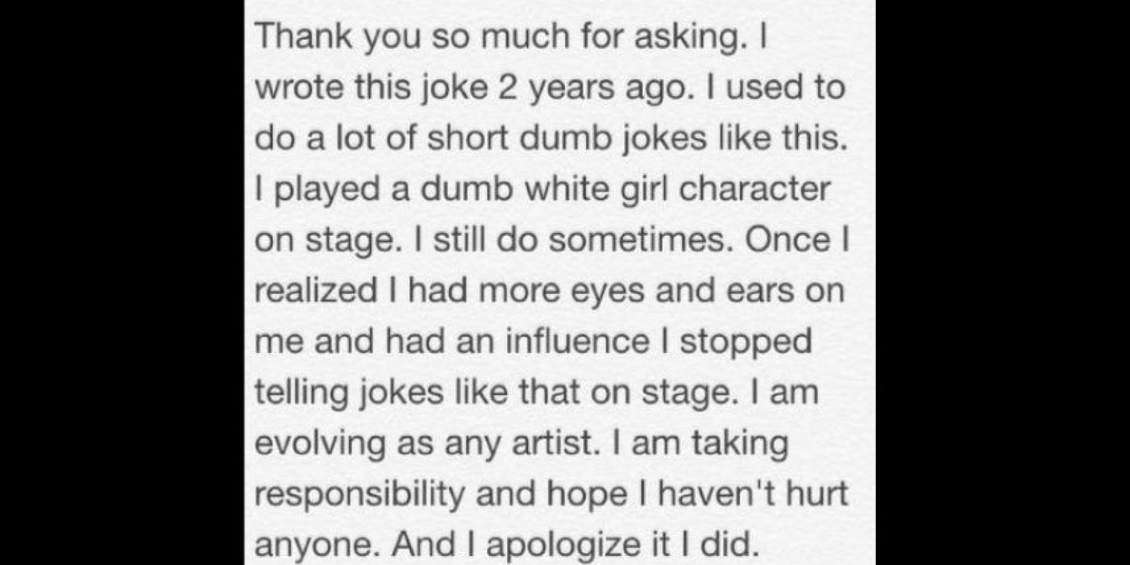 Pero por lo menos ella se disculpó. Cosa que no han hecho algunos famosos cuando han dicho sus célebres burradas racistas. Foto:vía Tumblr