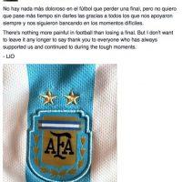 La última publicación del crack fue el agradecimiento a los fans que lo habían respaldado después de la derrota ante Chile Foto:Vñua facebook.com/LeoMessi