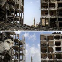 En la primera foto es posible ver cómo quedó Beit Hanun tras los ataques israelíes. En la segunda foto es posible ver el mismo lugar a un año de la ofensiva. El cambio es mínimo Foto:AFP