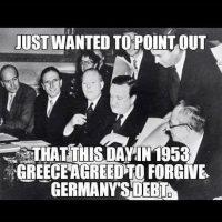 Recuerdan que en 1953, Grecia perdonó la deuda que adquirió Alemania tras la Primera y la Segunda Guerra Mundial Foto:Instagram.com
