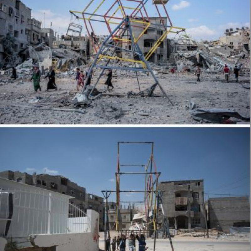 Una rueda de la fortuna para niños en Beit Hanun Foto:AFP