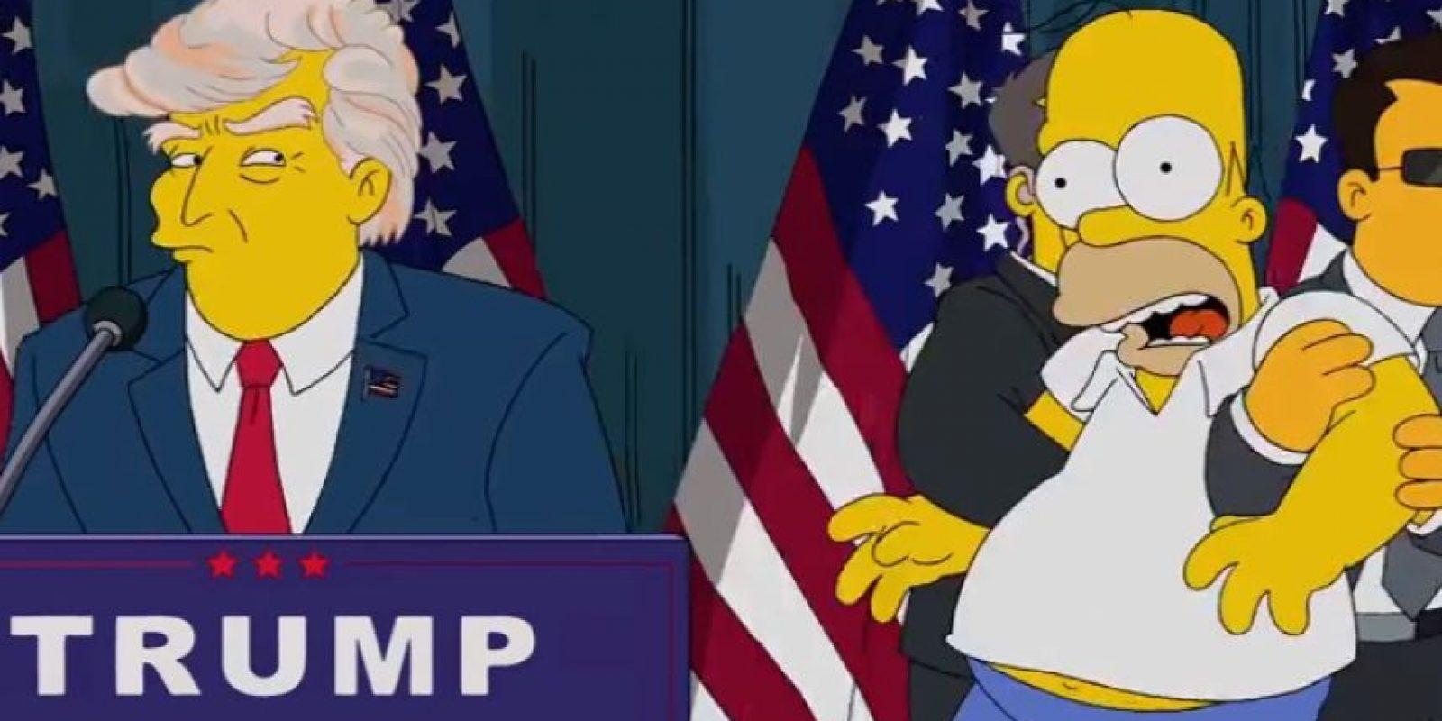 """""""Homero"""" queda hipnotizado por la cabellera de Trump Foto:YouTube/Animation Domination"""