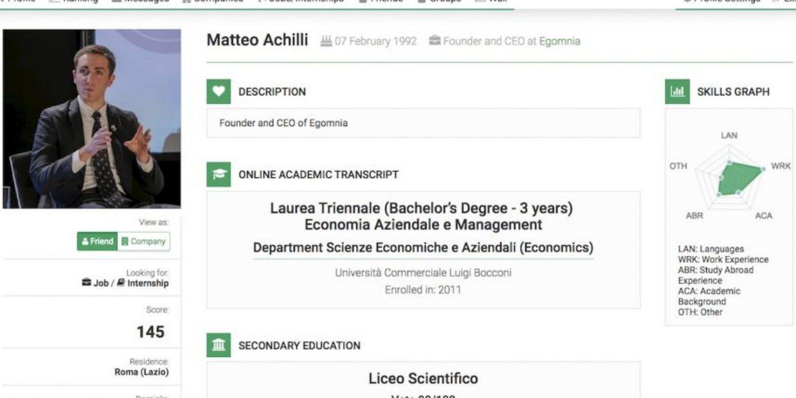 Desarrolló un algoritmo para su sitio Egomnia que rankea CV mientras estudiaba en la prestigiosa Universidad Bocconi de Milán. Foto:Matteo Achilli