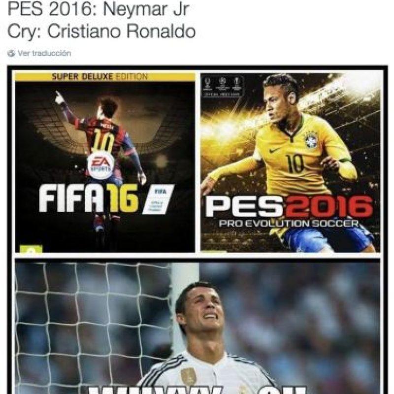 """Las burlas a Cristiano porque no aparece en el """"FIFA 16"""" ni en el """"PES 2015"""". Foto:Twitter"""