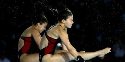 Meaghan Benfeito y Roseline Filion, la pareja canadiense que se colgó el oro en plataforma de 10 metros sincronizada. Foto:Getty Images
