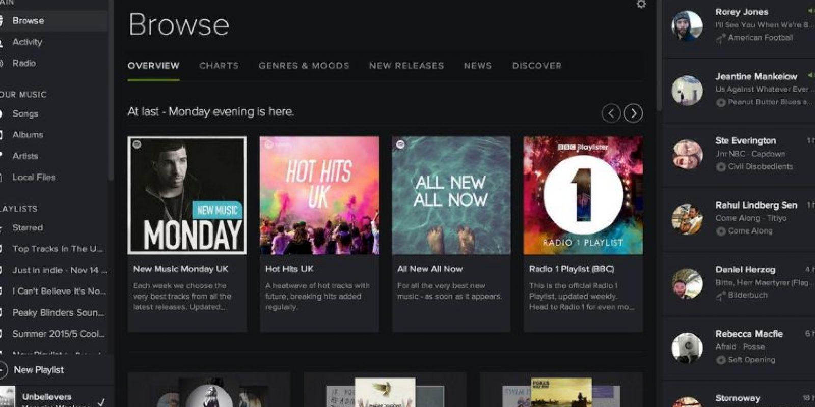 Tiene más de 30 millones de canciones. Foto:Spotify