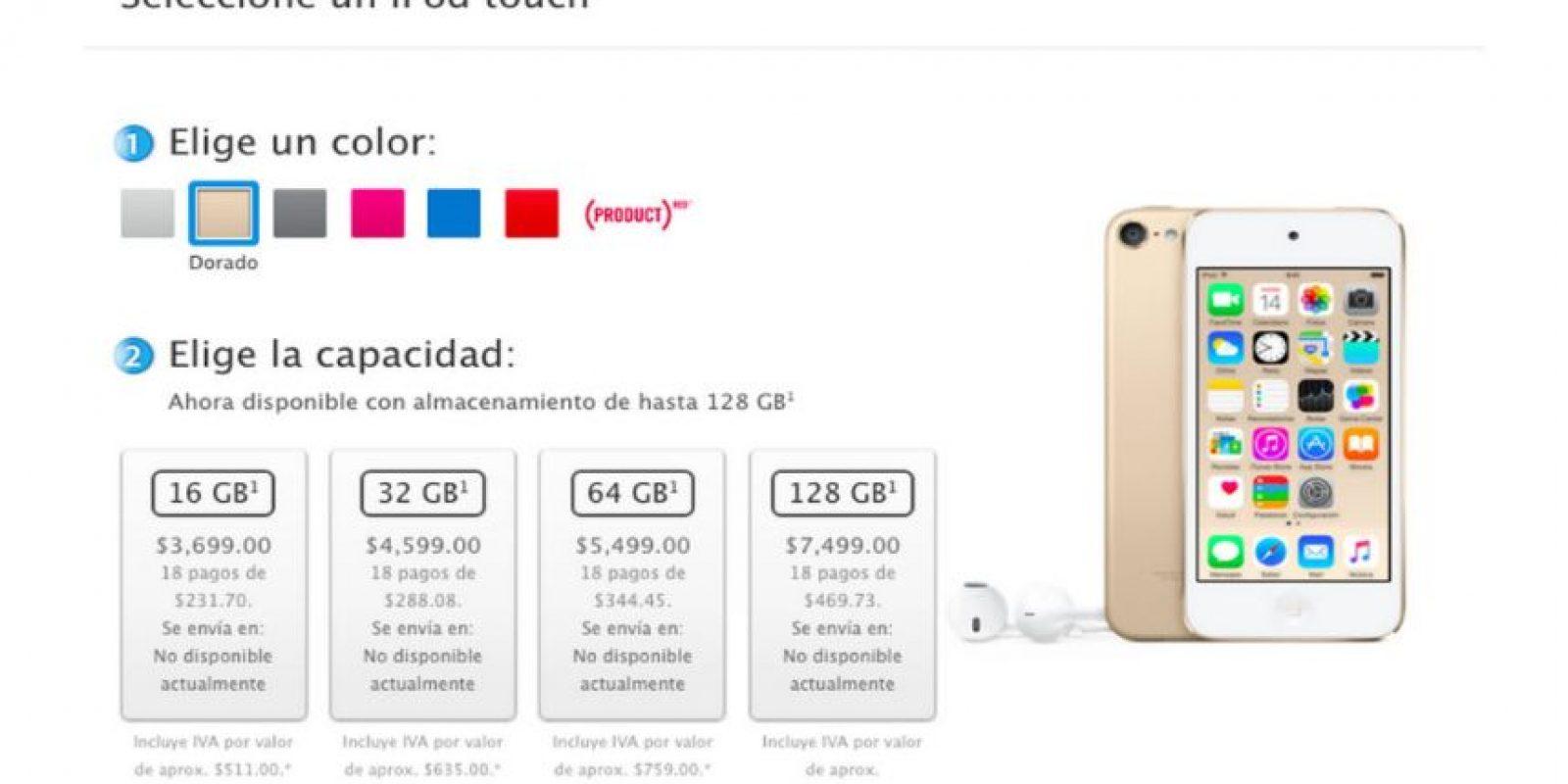 Rosa, dorado, azul rey y gris son los nuevos colores para el iPod Touch Foto:Apple