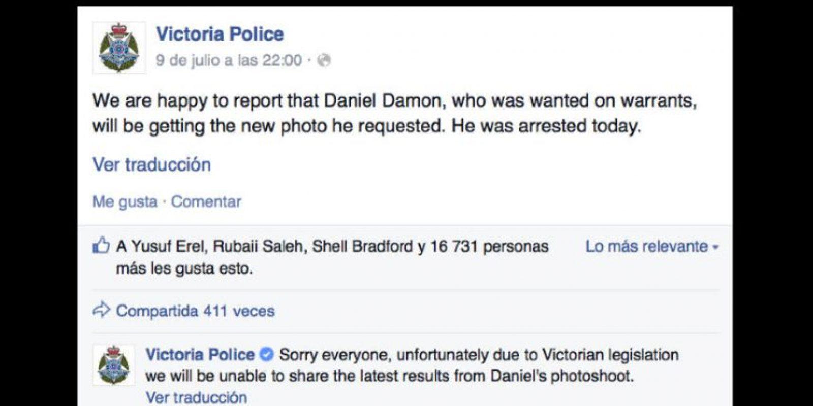 Posteriormente Damon fue capturado. Foto:Vía facebook.com/victoriapolice