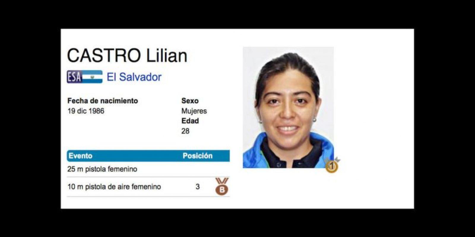 Lilian Castro. Se hizo con el bronce para El Salvador en tiro, en la especialidad de 10 metros, pistola de aire Foto:Vía toronto2015.org
