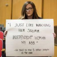"""""""Sólo me gusta verla retorcerse… 'Mujer independiente'… !Mi trasero!"""". Él le dijo a otras 5 personas en la habitación. Foto:vía Project Unbreakable.org"""