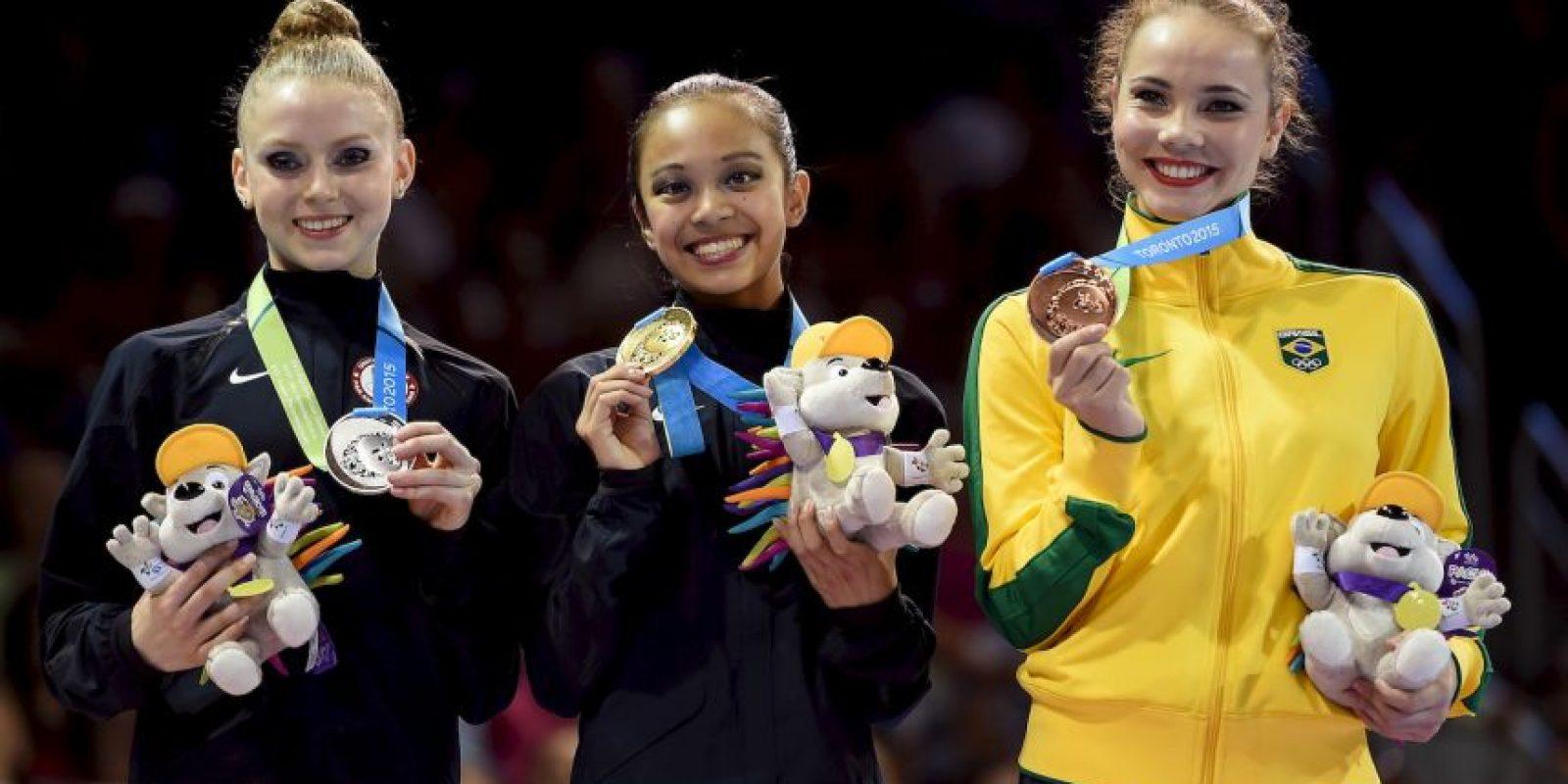 El podio de la prueba de cinta en gimnasia rítmica. Foto:Getty Images