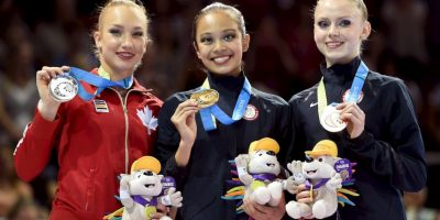 El podio de la prueba de mazas en gimnasia rítmica. Foto:Getty Images