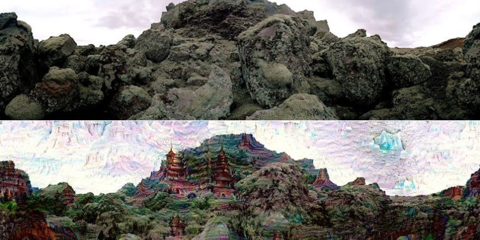 Esta es una comparativa sobre la imagen real y el resultado después de accionar Deep Dreams Foto:Google