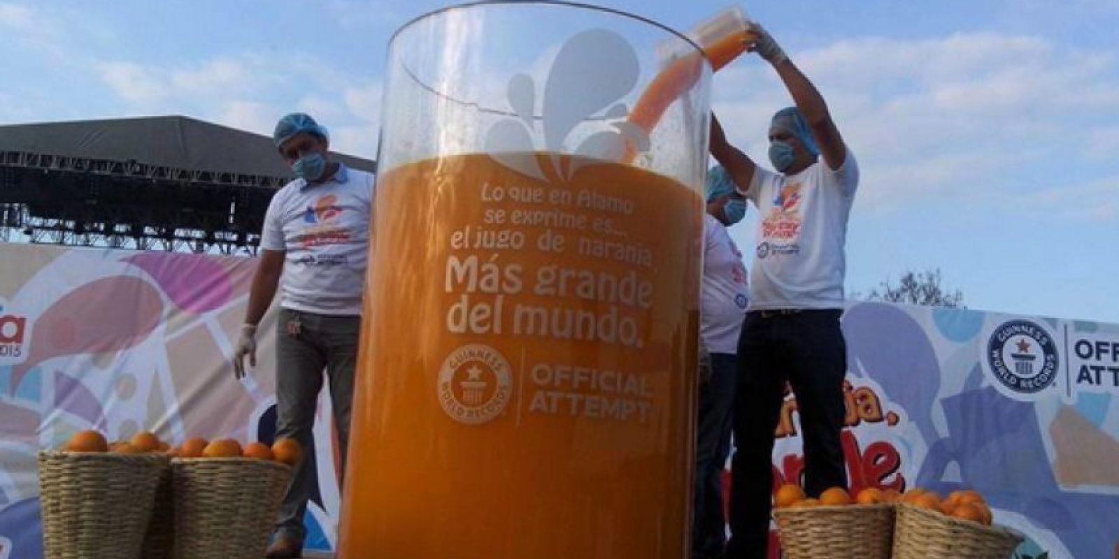 El jugo de naranja más grande del mundo. Foto:Vía guinnessworldrecords.es
