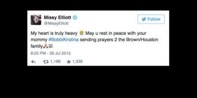 """Missy Elliott, la rapera: """"Mi corazón está roto. Descansa en paz con tu madre. Envío oraciones a la familia Houston"""". Foto:vía Twitter"""