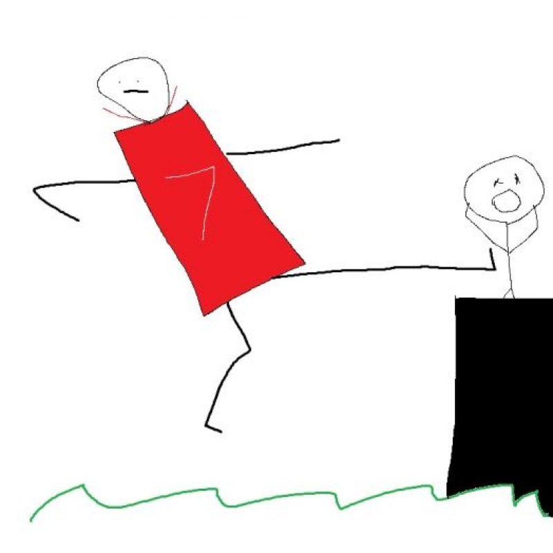 ¿Un jugador vestido de rojo, con el 7 y pateando a alguien? Foto:reddit.com