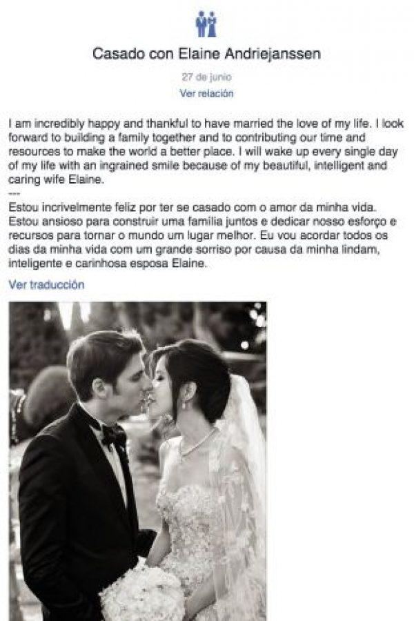 Así anunció Eduardo Saverin su matrimonio con Elaine Andriejanssen. Foto:facebook.com/saverin