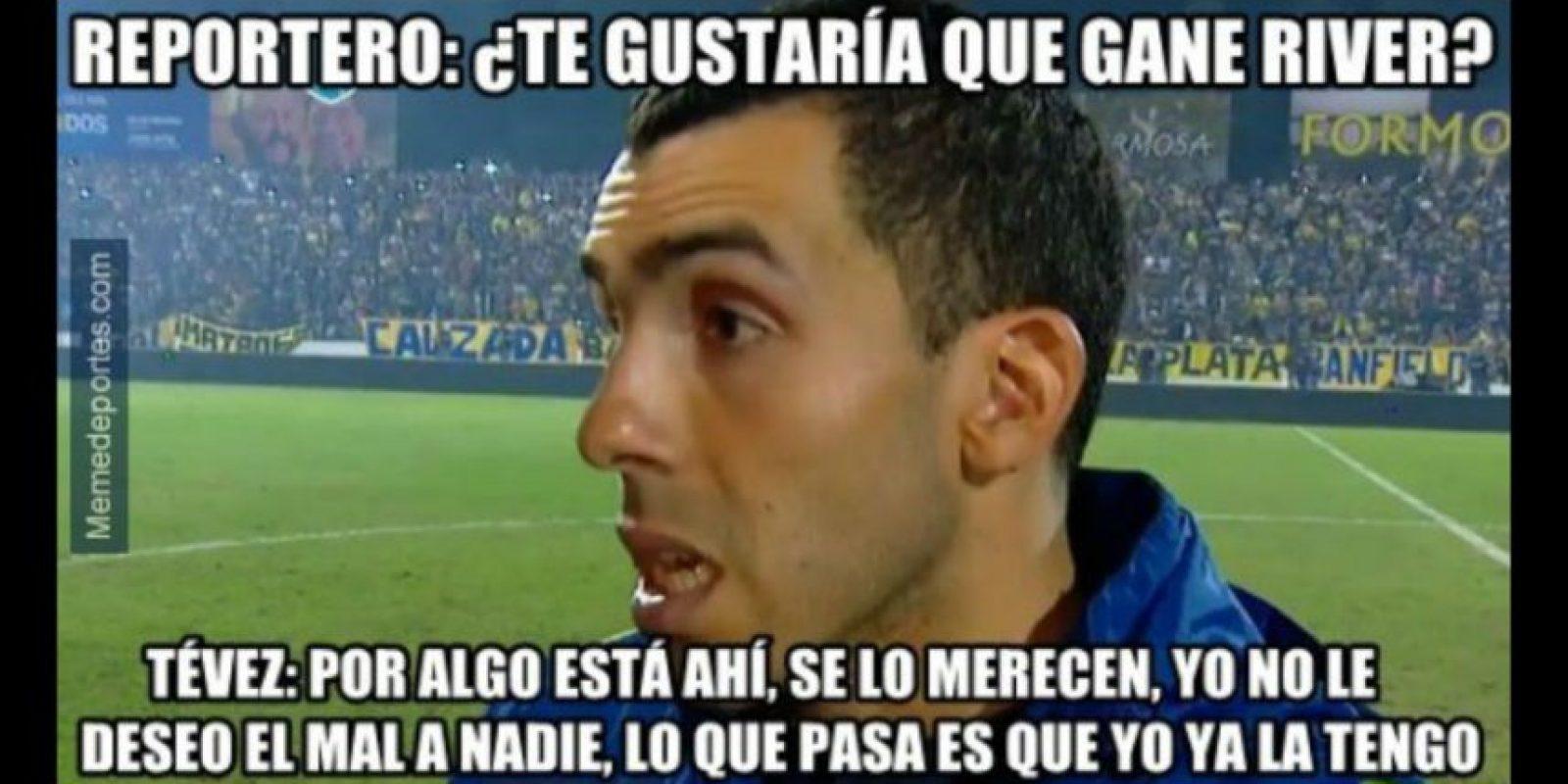 """Y los máximos rivales de River Plate, Boca Juniors, también le mandaron un """"mensajito"""" a su rival. Foto:memedeportes.com"""