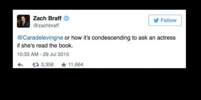 """Comediantes como Zach Braff la apoyaron, al acusar al reportero de """"condescendiente"""". Foto:vía Twitter"""