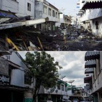 Las imágenes con las que se comparan las fotos de la tragedia captadas en 2014 Foto:Getty Images