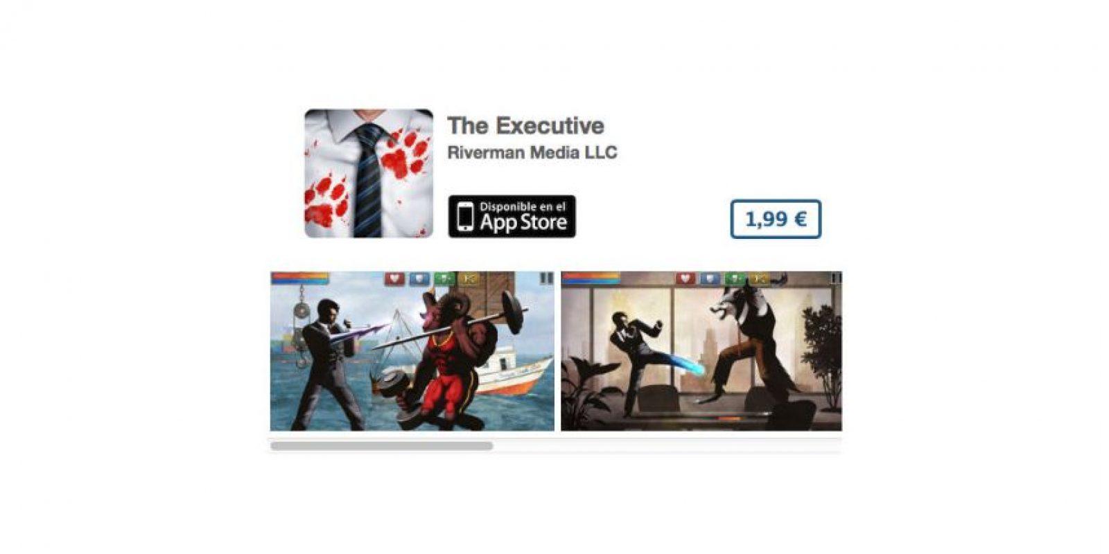 The Executive es una excelente juego-parodia que trata de un ejecutivo que se enfrenta a hombres lobo y musculosos minotauros en una lucha a muerte. Precio tres dólares Foto:De Riverman Media LLC