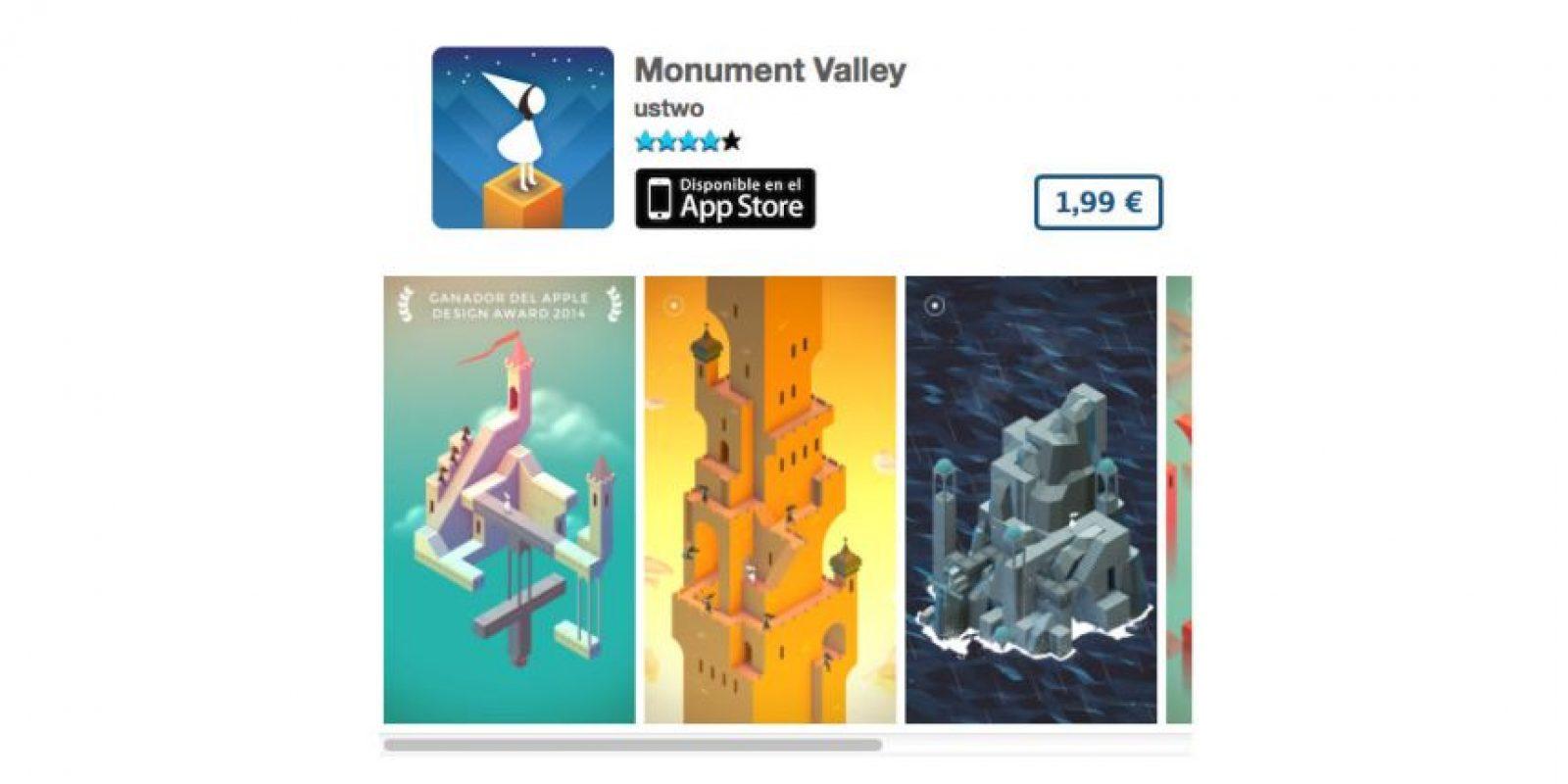 Monument Valley es un juego de diseño que ganó el premio Apple Design 2014. Precio tres dólares Foto:De ustwo™