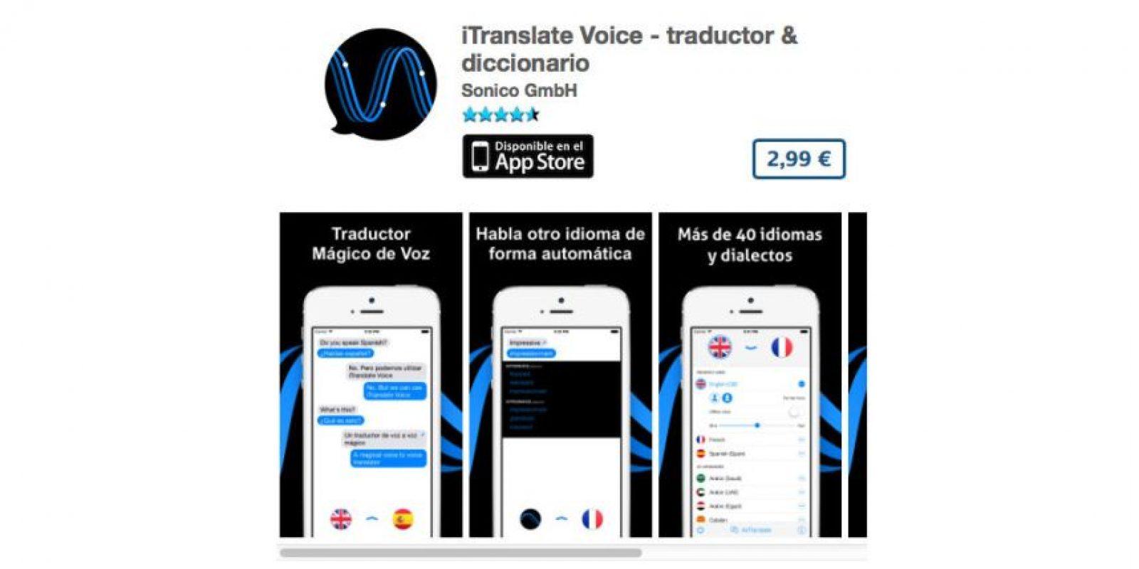 iTranslate Voice – traductor & diccionario es un traductor de voz a voz. Precio 4 dólares Foto:De Sonico GmbH