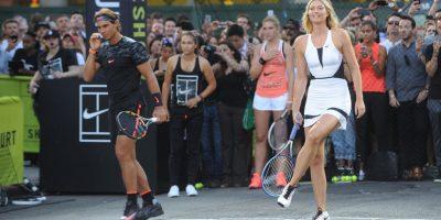 Maria Sharapova también estuvo en la grabación al lado de Rafael Nadal. Foto:Getty Images
