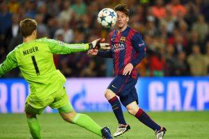 1. Gol de Lionel Messi (Barcelona) al Bayern Munich. Foto:Getty Images