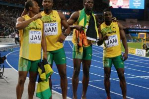 Medalla de Oro en el Mundial de Atletismo 2009 en relevos 4×100 metros. Foto:Getty Images
