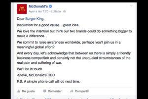 El texto original de parte de McDonald's Foto:Vía facebook.com/McDonalds