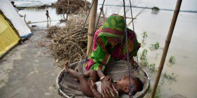 Inundaciones en la India. Foto:AFP